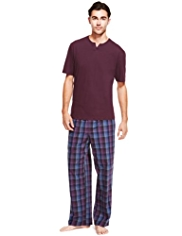 Pure Cotton Notched Neck Checked Pyjamas