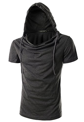 Mada Mens Active T Shirts Short Sleeve Sport Hoodies US Medium Dark Gray (Steampunk Superheroes)