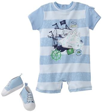 Vitamins Baby Boy Newborn Little Pirate Two-Piece Romper Set With Shoe, Blue, 3 Months