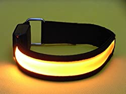 Namsan Safety LED Armband High Brightness Night Cycling Jogging Walking Reflective Armband Adjustable Improves Personal Visibility Flexible Lightweight Visible Super High-light Armbands for Outdoor Enthusiasts and Adventure Seekers Six Colors to Choose--Red Yellow Orange Green Blue Colorful Orange 1pcs