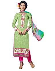 Surat Tex Green Color Embroidered Cotton Jacquard Semi-Stitched Salwar Suit-E286Dl9098Sa