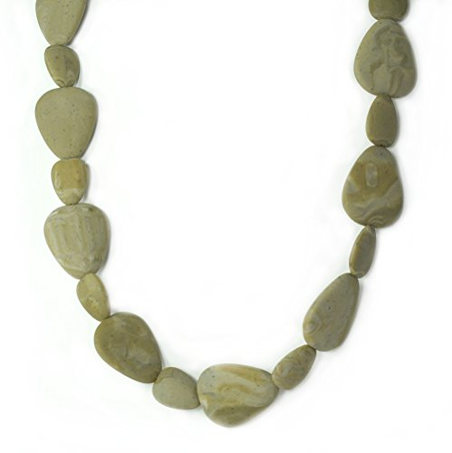 "Silli Me Jewels: ""Tranquility"" - 36"" Brown Teething Necklace with Large Flat Beads for Mom to Wear and for Baby to Chew"
