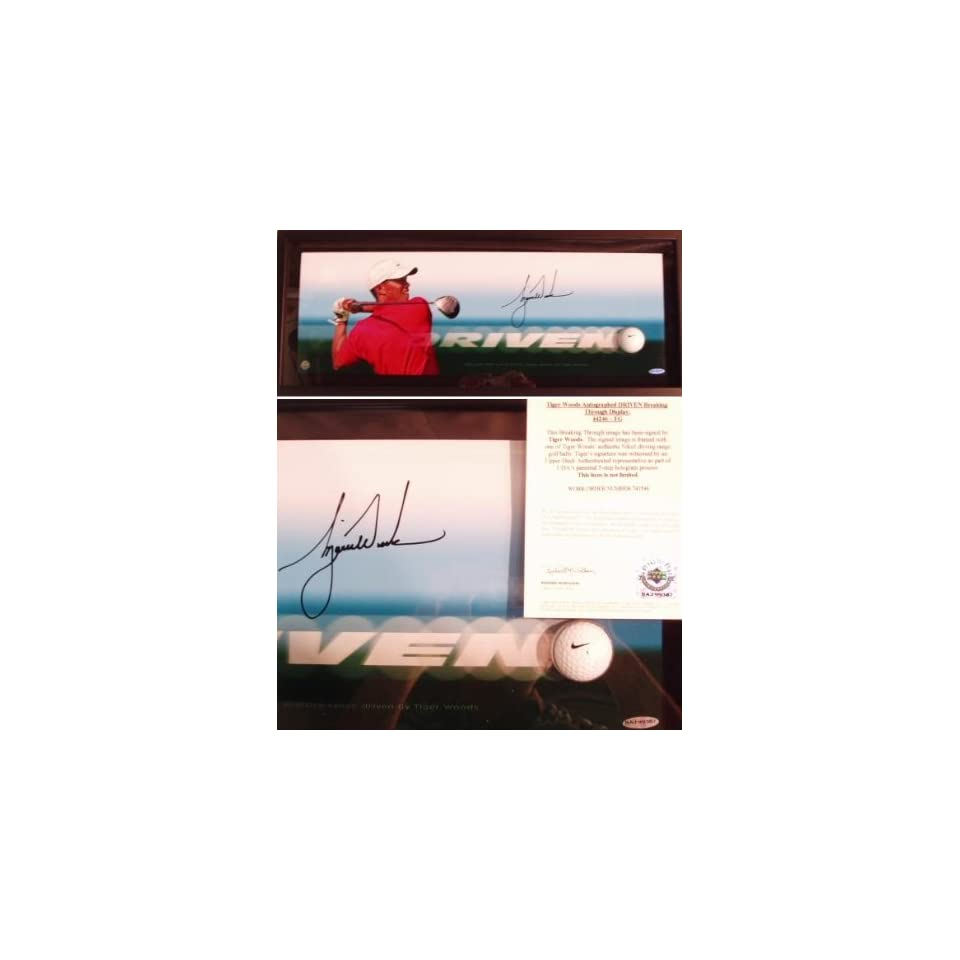 a00c3a7d4d0 Tiger Woods Signed   Framed Driven Shadowbox Piece With Nike Golf Ball