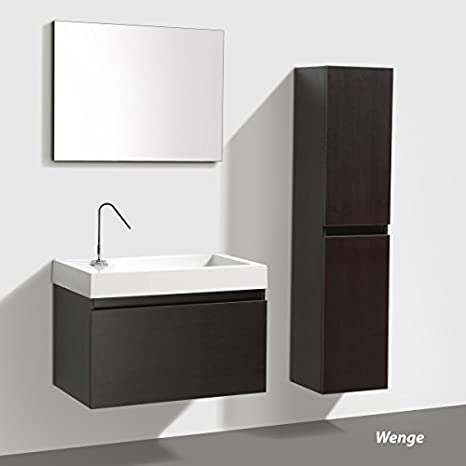 "Bathroom furniture set ""Manhattan"" 80cm mit Basin, Base cabinet und Mirror, colours: White, Wenge & Anthracite - Anthracite High gloss ohne Side cabinet"
