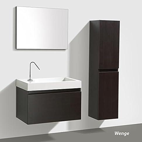 """Set mobili da bagno """"Manhattan"""" 80cm mit Lavabo, Sottopensile und Specchio, Colori: Bianco, wengé& Antracite - BIANCO hochgl SENZA armadietto laterale"""