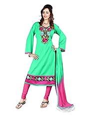 Shree Vardhman Synthetics Poppat Green Semi Cotton Top Straight Unstiched Salwar Suit Dress Material