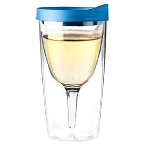Asobu vino2go double wall insulated wine tumbler blue wine glasses tumblers - Insulated stemless wine glasses ...