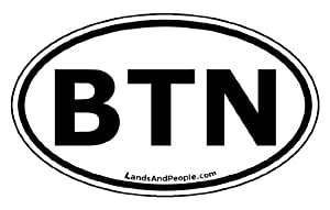Bhutan BTN Flag Car Bumper Sticker Decal Oval Black and White 3 Letter Code
