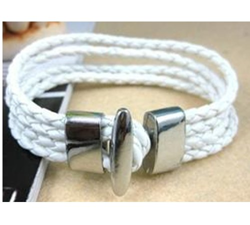 New Design Men Women or Unisex Fashionista Genuine Leather Wrap Bracelet Unique White Wristband with Metal Cap Acessory