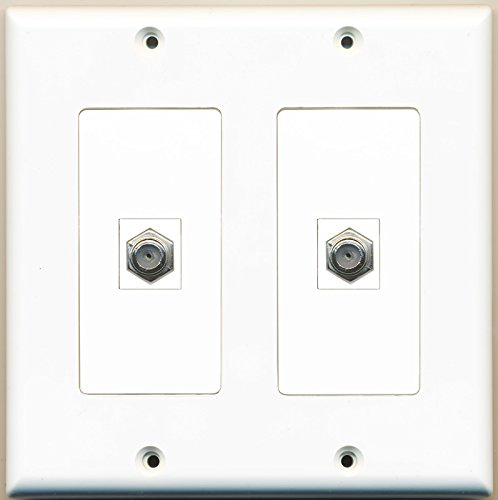 Riteav - 2 Port Coax Cable Tv- F-Type - Dual Gang Wall Plate