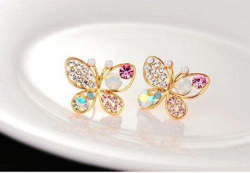 PPPerson Women's Fashion Elegant Colorful Batterfly Earrings