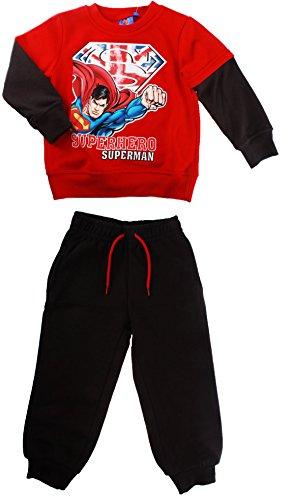 Jogging, felpa da ragazzo, motivo: Superman, da 3 a 8 mesi rosso