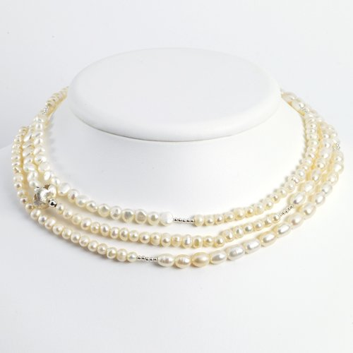 Sterling Silver White Freshwater Cultured Pearl Necklace - 52 Inch