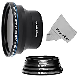 0.43X Wide-Angle Fisheye High Definition Lens for NIKON DSLR (D3300, D3200, D3100, D3000, D5300, D5200, D5100, D5000 D80, D60, D40, D300S) + MagicFiber Microfiber Lens Cleaning Cloth