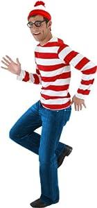 elope Where's Waldo Adult Costume Kit, Red/White, Large/X-Large