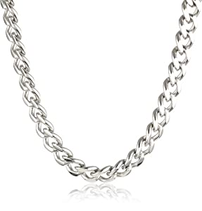 Men's Stainless Steel Chunky Curb Link Necklace, 24