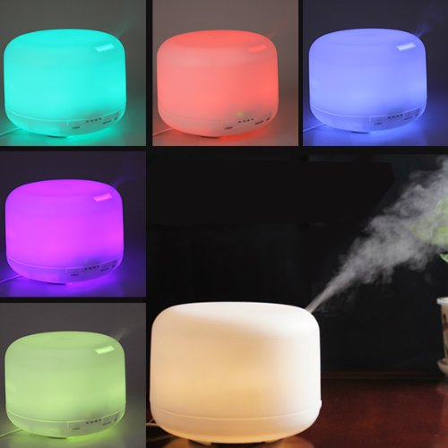 OriGlam® 500ML 9 LEDs 7 Colorful Light Changing Humidifier 2.4Mhz Ultrasonic Aroma Diffuser Adjustable Spraying Direction Essential Oil Air Humidifier