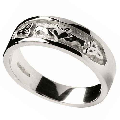 Unisex Silver Claddagh & Trinity Knot Band