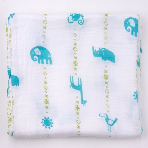 Bambino Land Muslin Organic Blanket - Jungle Teal - 1 Pack