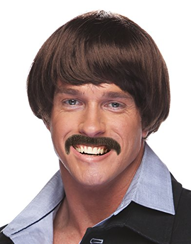 Men's Sonny Bono Costume Sonny Bono Wig and Mustache Ron Burgundy Costume Wig