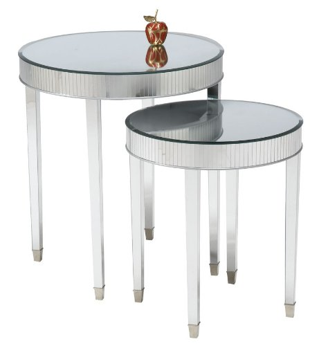 Image of Set of 2 Mirror Top Cinema Round End Tables (B002XV0MBQ)