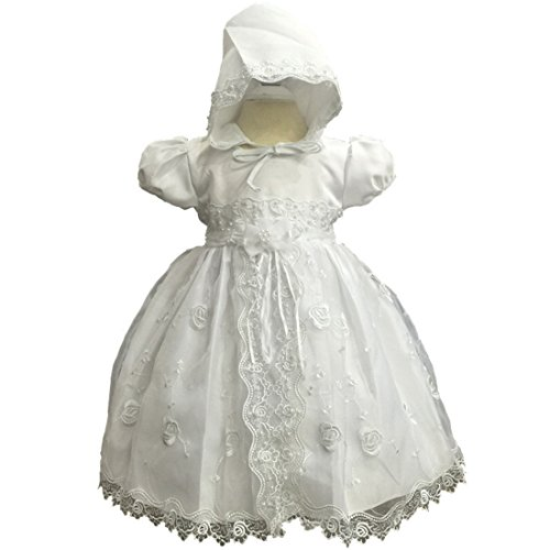 Crewneck Applique A-line Baby Girls Christening Dress with Selt Tie Sash