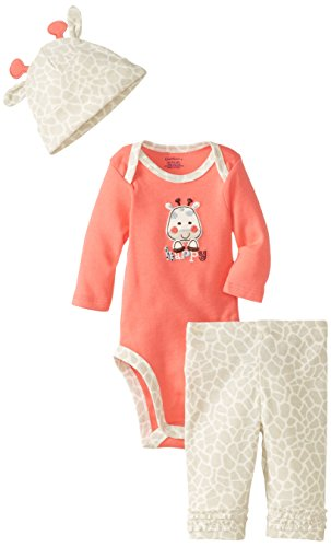 Gerber Baby-Girls Newborn 3 Piece Bodysuit Cap And Pant, Giraffe, 0-3 Months