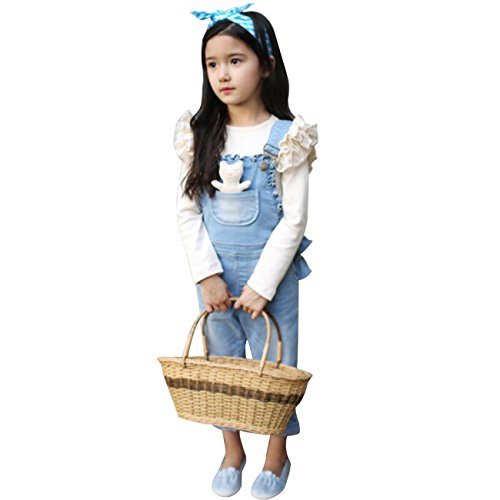 Cm-Cg Little Girls' Ruffled Lacework Denim Jumpsuits Overalls Jeans Pants 2-3Y