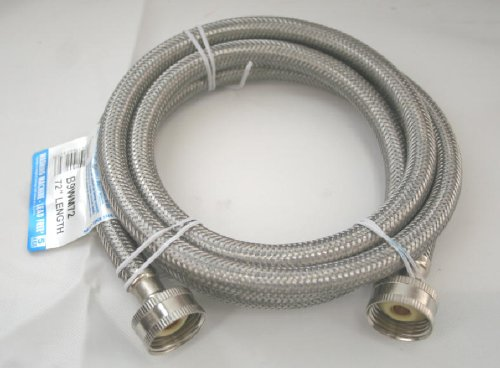 """Fluidmaster B9Wm72 Washing Machine Connector, Stainless Steel - 3/4"""" Hose Fitting X 3/4"""" Hose Fitting, 6 Ft. (72"""") Length"""