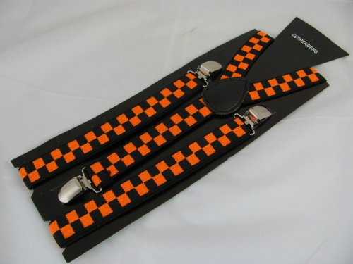Pair Fashion Braces [suspenders] in a black & orange check design.2.5cm wide ,Adjustable with metal adjusters and snap fasteners .