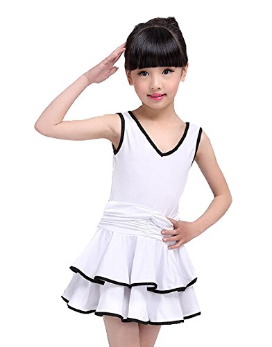 Beautiful Girls Costume Performance Latin Dance Dress WHITE(110-115CM Height)