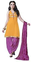 Khoobee Presents Crepe Dress Material (Light Orange,Pink)