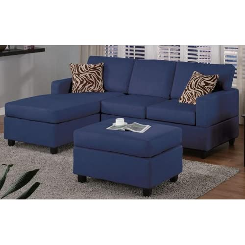 Amazon.com - Navy Blue Sectional Sofa by Poundex