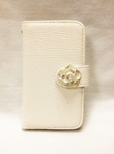 Luxury Crystal Rhinestone Camellia Leather Card Flip Card Holder Wallet Case Cover for Samsung Galaxy Motorola LG Mobile Cell Phone Samsung Galaxy S Blaze 4G SGH-T769 T-Mobile - white