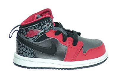 Buy Jordan 1 Mid Baby Toddlers Basketball Shoes Black Legion Red-Dark Grey-White 640735-019 by Jordan