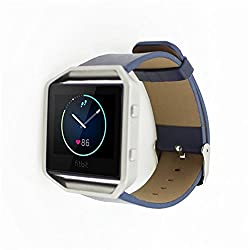 Fitbit Blaze Replacement Band,DAYJOY Elegant Design Genuine Leather Watch Strap Adjustbable Wrist Band for Fitbit Blaze (BLUE,Small Size)