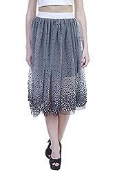 Showoff Women's Black Net Knee-length Skirt