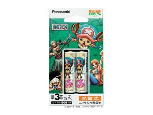 Panasonic Evolta Rechargeable Ni-MH AA-size min. 1,900mAh 2-Pack (ONE PIECE Chopper -Serious) | HHR-3MCC/2B (Japanese Import) (Panasonic Evolta Aa compare prices)