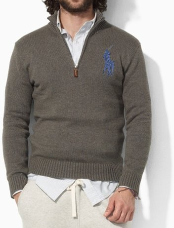 Polo Ralph Lauren Mens Big Pony Fitted Cotton Half Zip Jumper Sweater in Grey (Small)