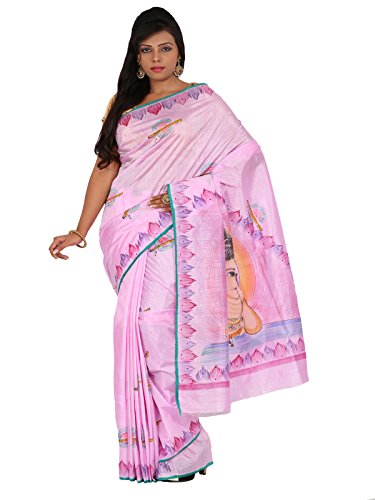 Alankrita Dupion Raw Silk Brush Painted Kanchipuram Art Silk Sarees With Stones(Light Baby Pink)