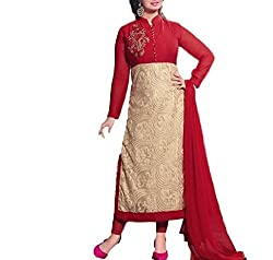 A R Fashion Hub Women's Georgette Unstitched Dress Material(6002 Designer_MultiColor_FreeSize)