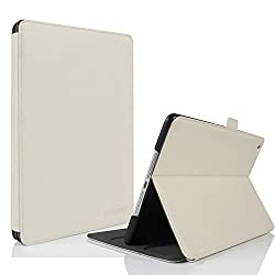 KVAGO Slim Fit Genuine Leather Folio Case for Apple iPad Air 2 (2014 Version) iPad 6 Real Leather Smart Cover with Stand Full Sleep Wake compatibility - White