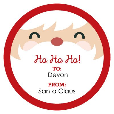 custom jolly santa face personalized small circle christmas gift