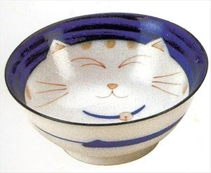 Smiling Blue Cat Porcelain Noodle Bowl 7-1/4in #HY57/B
