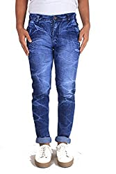Bdow Men's slim fit cut pocket stretchable jeans (Blue, 32)