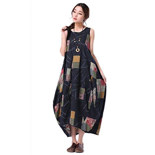 Sexy Women Art Printing Flower Irregular Personality Cotton Linen Sleeveless Vest Strap Long Dress Summer Skirt (Blue)