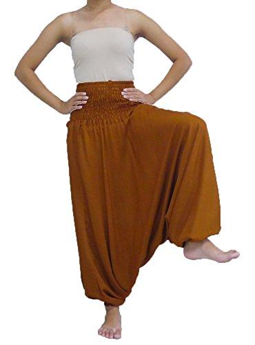 Loongcha's Women Harem Pants 2 in 1 Wearing Smocked Waist Yoga Aladdin (J Light Auburn)