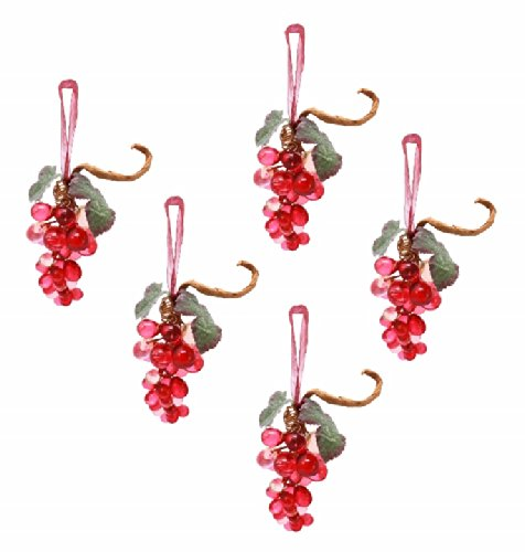 Holiday Lane Set of 5 Grape Hanging Holiday or Decorative Ornaments