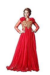 Parinaaz Red soft net fabric Unsticht Dressmaterial