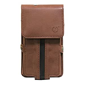 Jo Jo A6 Nillofer Series Leather Pouch Holster Case For HTC Desrie 626 Dark Brown Black